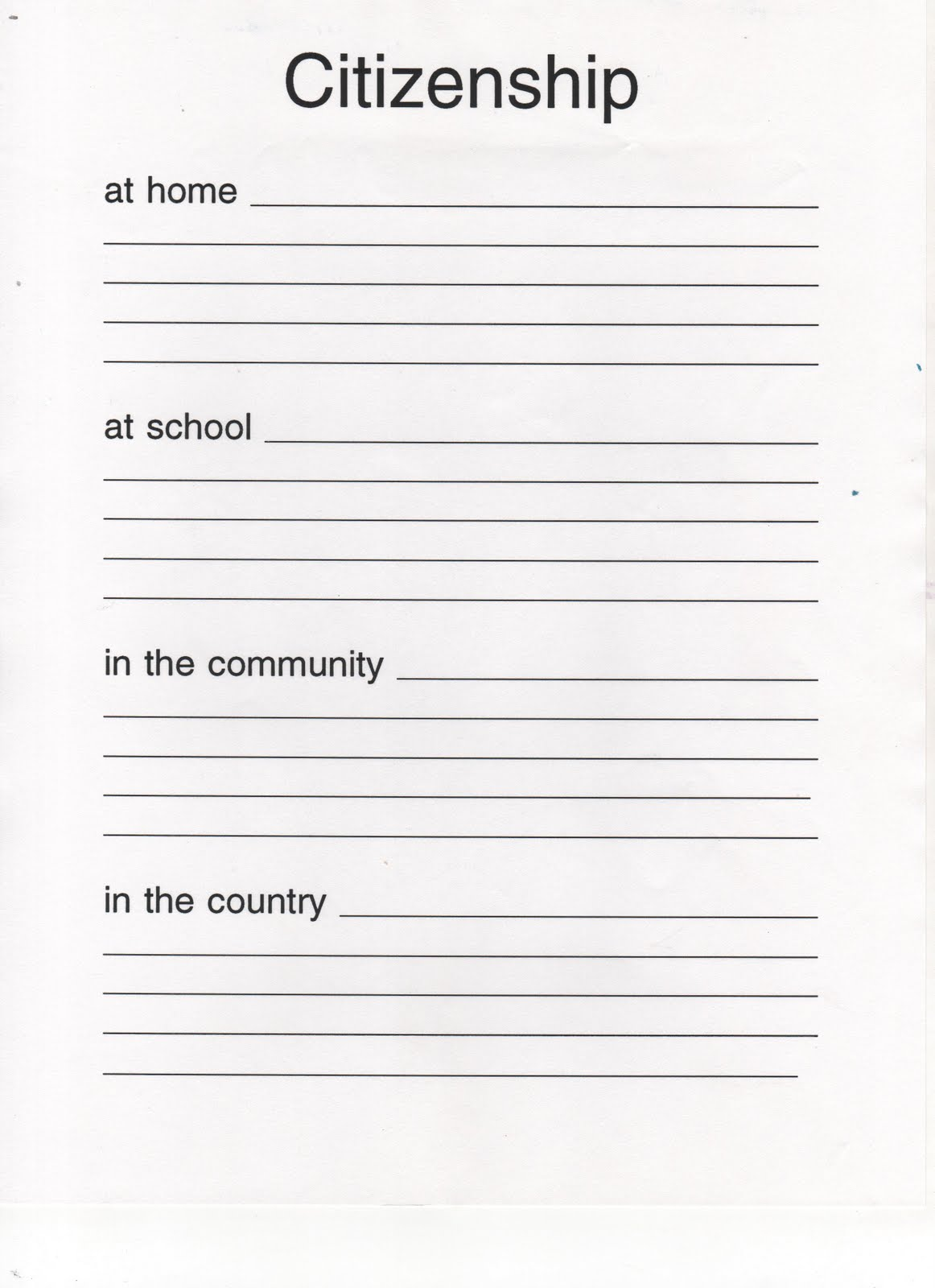 Elementary School Enrichment Activities Citizenship Booklet