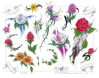 Tatuaż Wzory Tatuaży Kolorowe Kwiaty