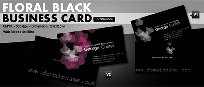 Floral Black_Business Card by printriver