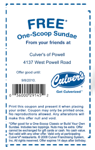graphic relating to Culver Coupons Free Printable referred to as Culvers birthday coupon : I9 athletics coupon