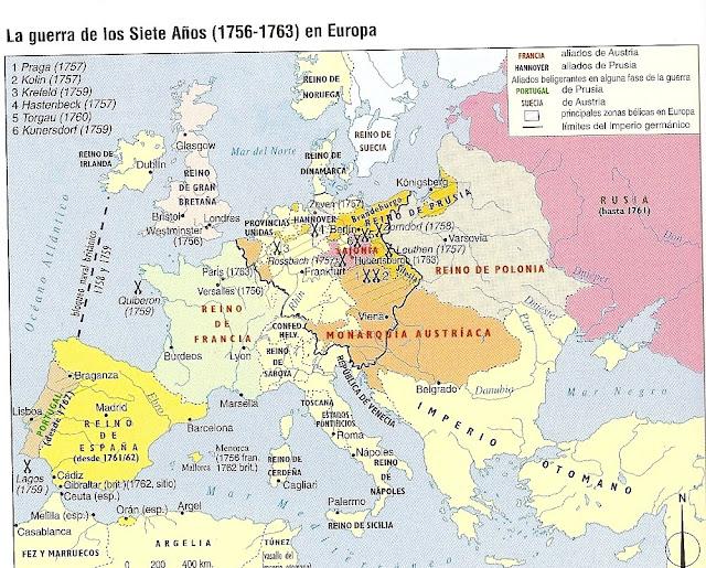 Resultado de imagen de mapa guerra de los siete años