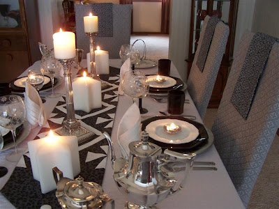Tablescaping Black Silver And White Tablescape