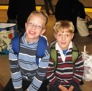 M. boys on BART, first day of school, 9/2008