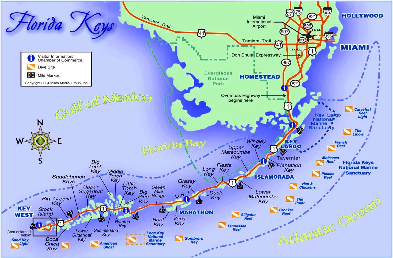Highway Map Of Florida.Map Florida Scenic Keys Highway