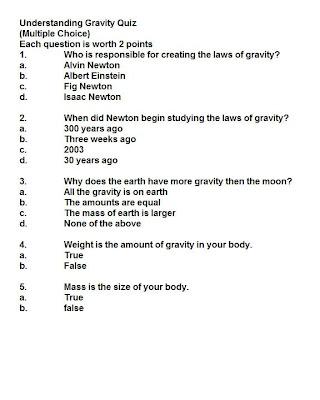 6th Grade Solar System Quiz - grade 6 science quizzessolar ...