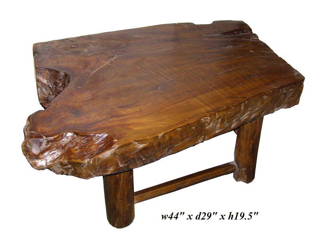 Golden Lotus Antiques Rustic Thick Raw Wood Log Coffee