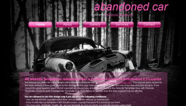 Free Abondoned Car Pink CSS Website Template