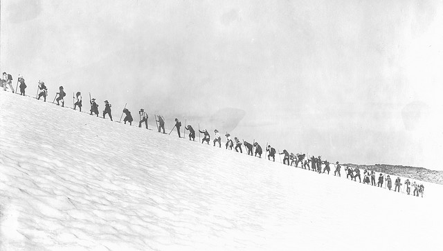 Image Title: Mazamas hiking through the snow on Mt. Rainier. Creator: Kiser Photo Co. Date Original: 1905. Original Form: Gelatin silver prints. Original Collection: Gerald W. Williams Collection