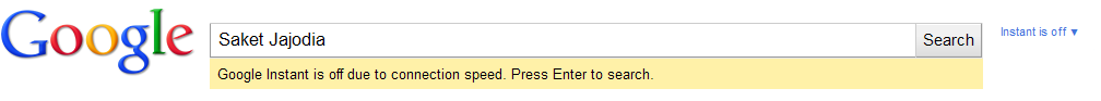 Google Instant is off due to connection speed. Press Enter to search.