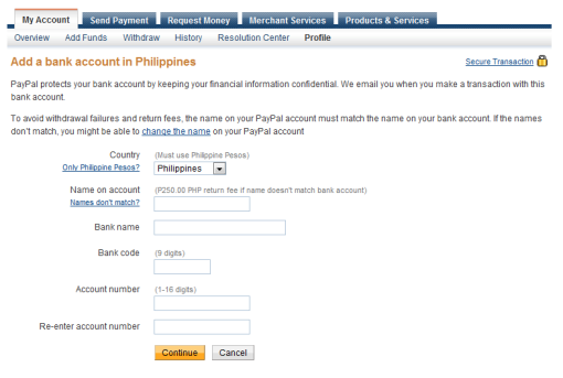 add bank account to Paypal