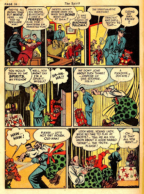 Cartoon of carnival clown and furtune teller appear in this vintage old comic book page from 1943