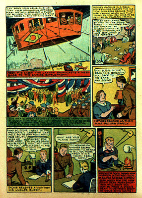 Zeppelin gondola is shown in this vintage old comic page from 1940