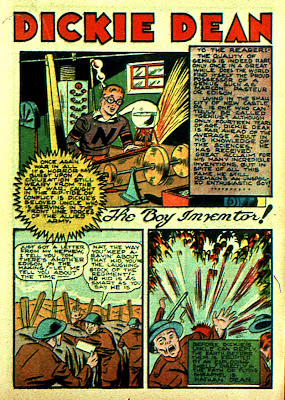 A comic book version of a world war is shown on this firat page of a Dickie Dean Boy Inventor comic book story