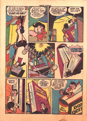 A cartoon library and drawings of books are shown in this page from the Quality Comics publication Crack Comics.