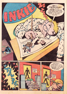 The comic book artist Jack Cole is shown in this vintage classic page from  Crack Comics 33.