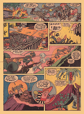 Comic book drawings of men in prison stripe uniforms and an erupting volcano are shown in this collector's comic book page from the golden age of comic books