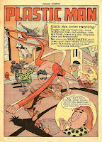 Plastic Man chases bank robbers in this vintage golden age cartoon comic book page by artist Alex Kotzky.