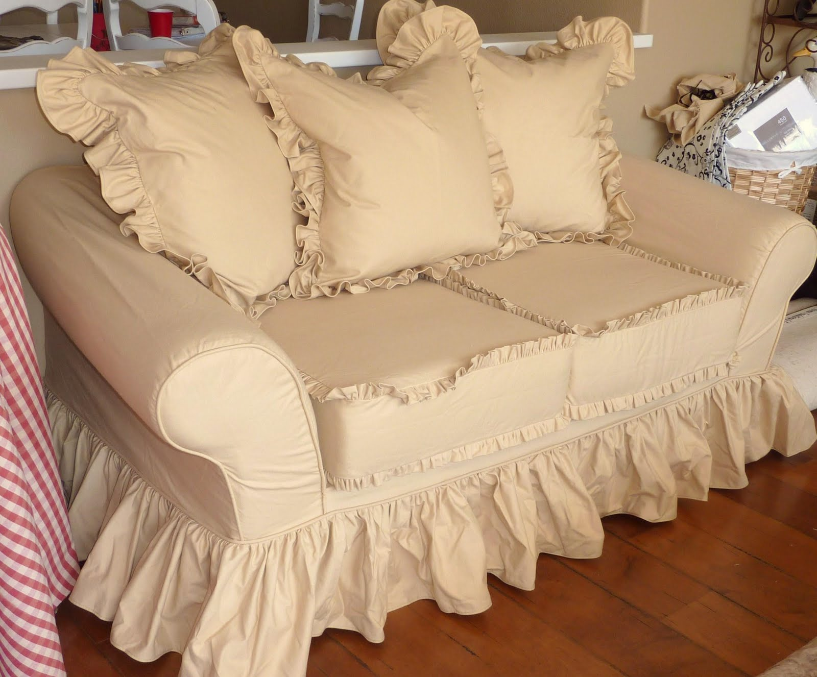 Ruffled Sofa Slipcover Italian Leather Recliner Cottage By Design With Trish Banner Super Ruffly