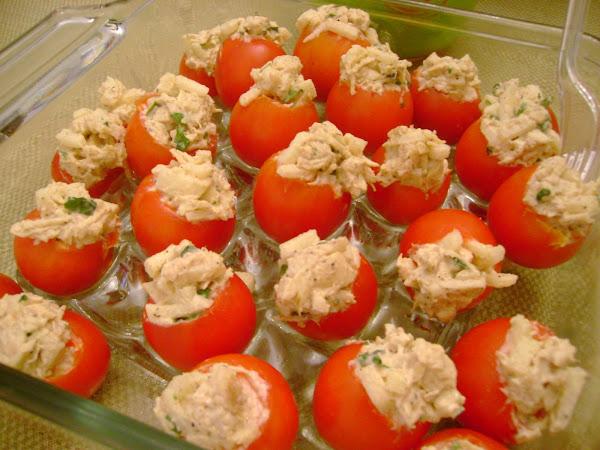 Cherry Tomatoes Stuffed w/Chicken Apple Salad