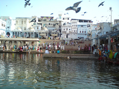 Devotees performing rites and rituals at the Ghats of Pushkar