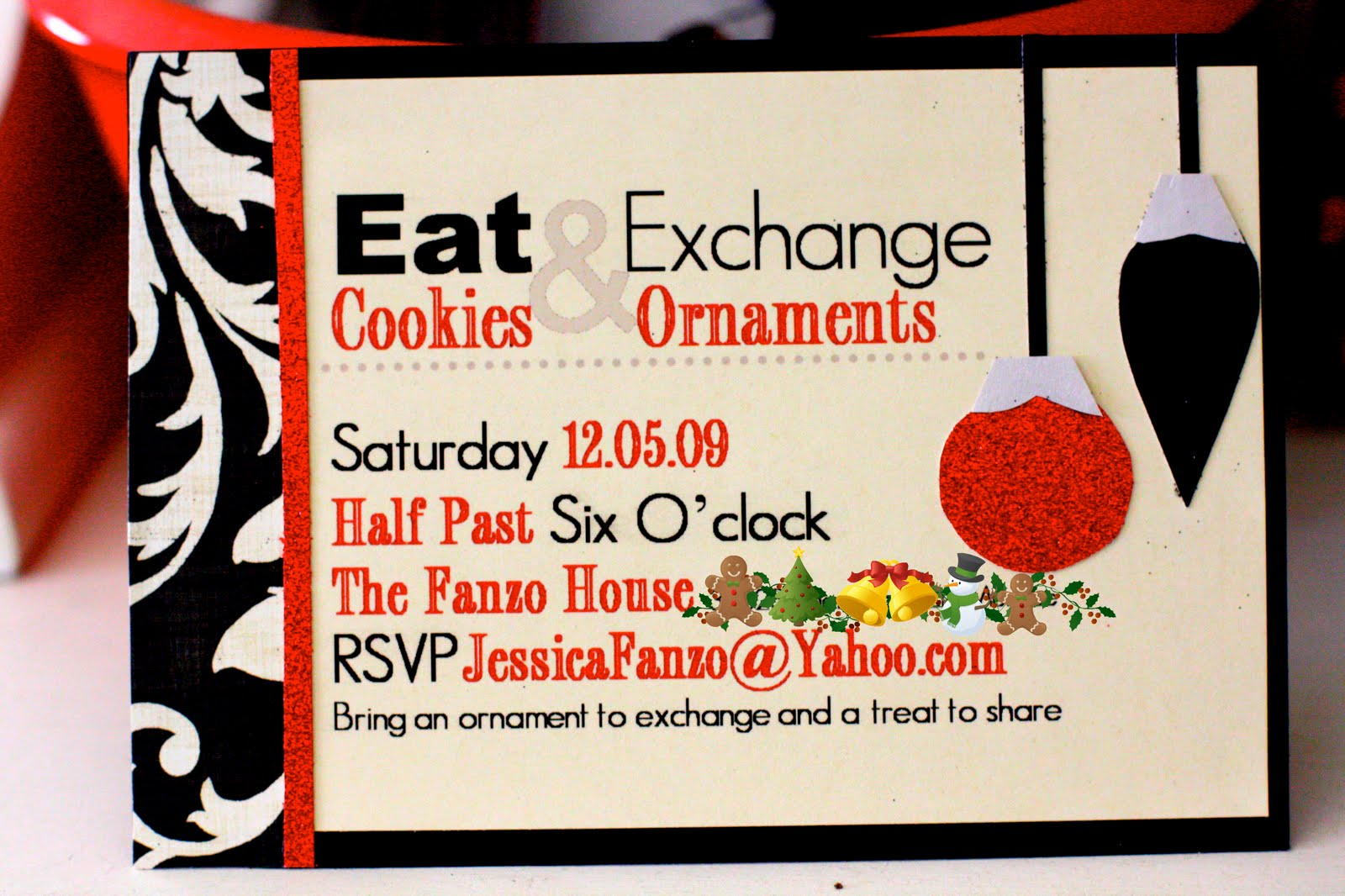 party love ornament exchange cookie party invitation