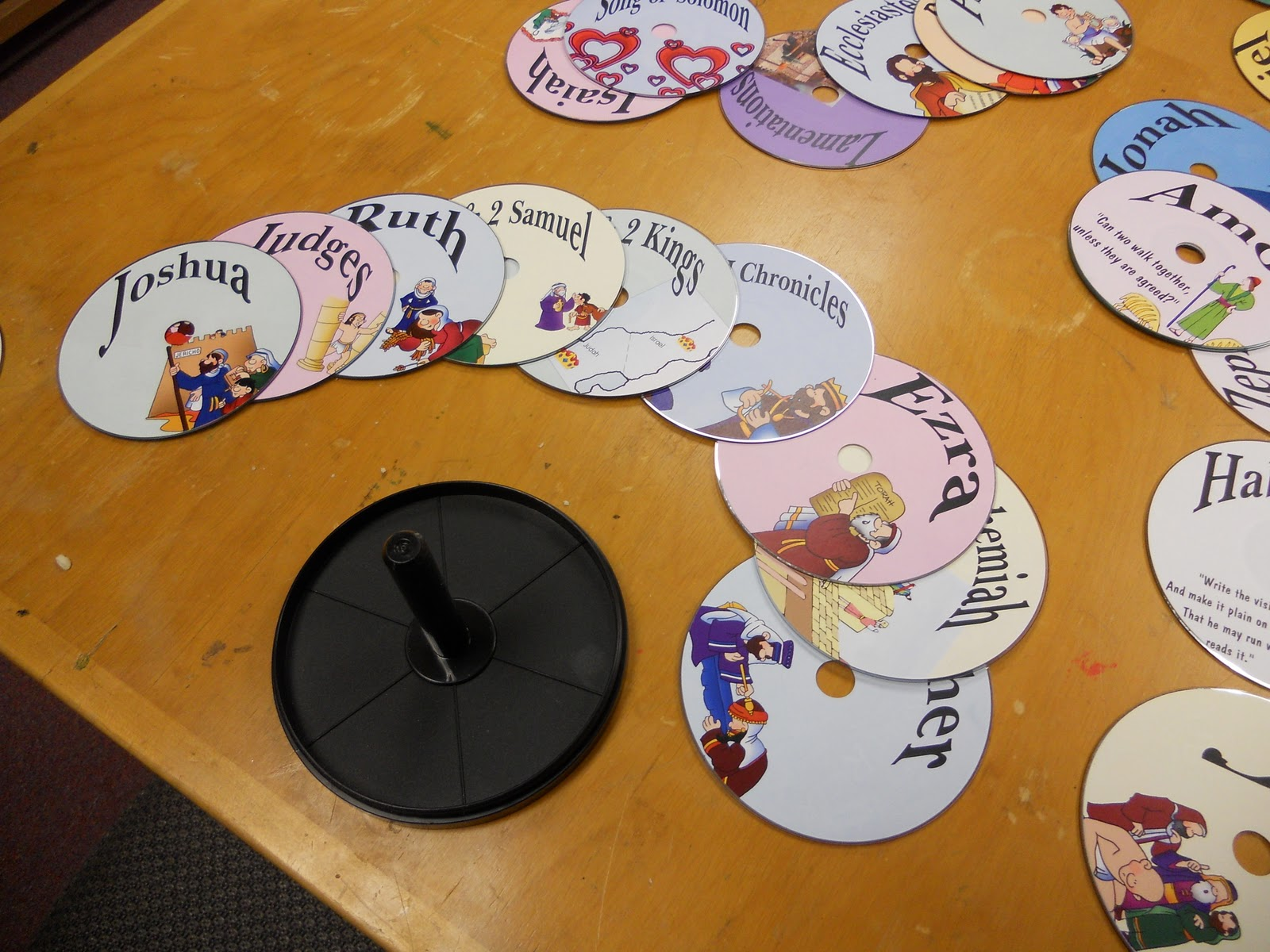 Hands On Bible Teacher Recycled Cd S Turned Books Of The Bible Game Activity Scrambled Cd S