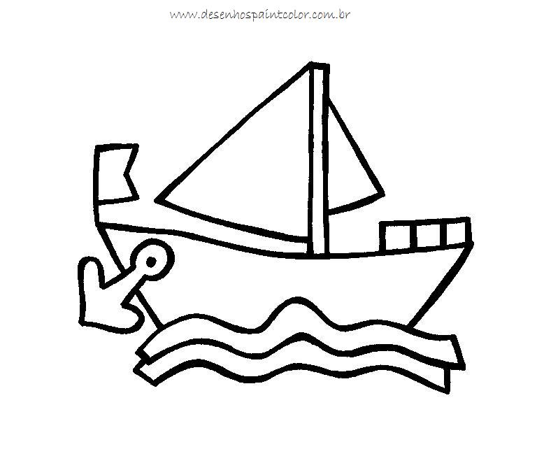 Desenho De Barquinho No Mar Para Imprimir E Colorir No Paint