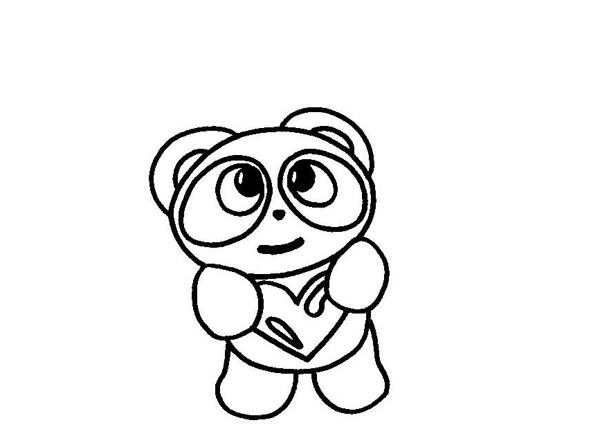 Desenho De Coracao Grande Para Imprimir: Colorindo Com A Dry: DESENHO DE URSO PANDA COM CORAÇÃO