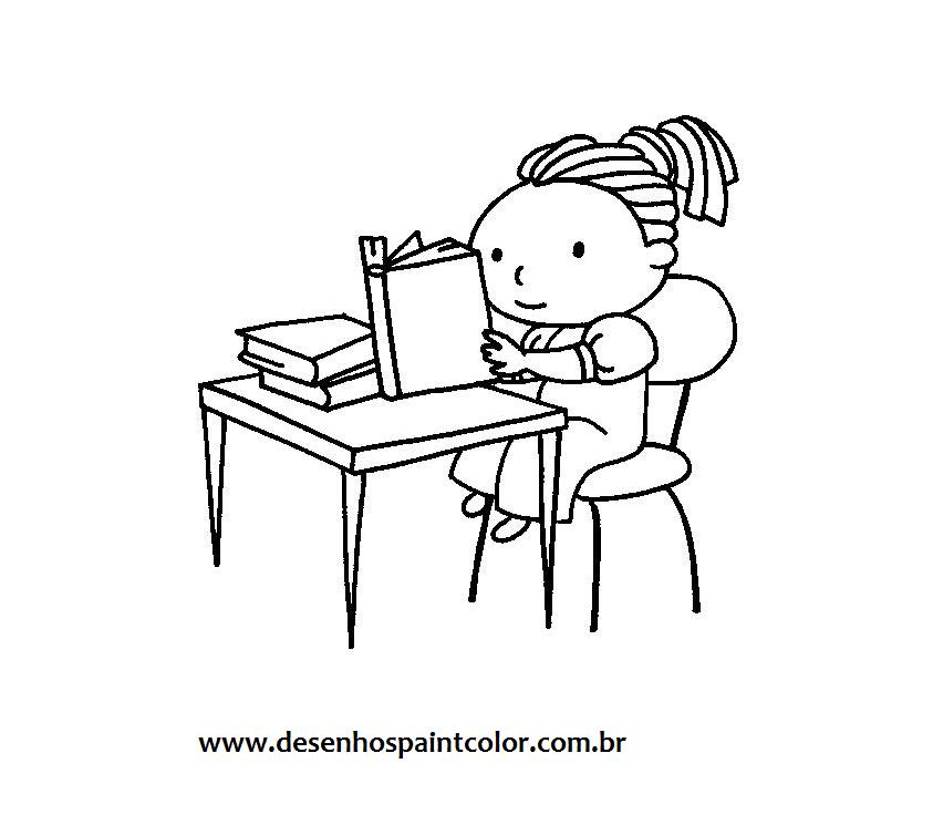 Desenho De Menina Estudando Para Imprimir E Colorir Gratuitamente