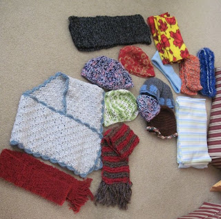 scarves, hats, shawl