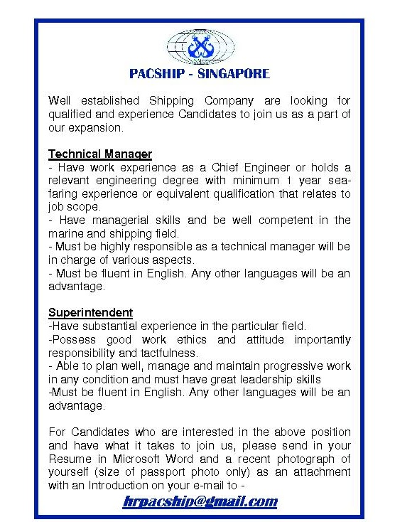 Shipping Jobs: Vacancies- Pacship Singapore- Shore based (Jan 2011)