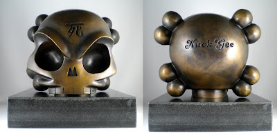 Fully Visual x Huck Gee Life Size Skullhead Bronze Sculpture