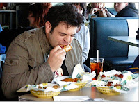 Man v. Food - Adam Richman eating his way through the Atomic Hot Wings Challenge at Quaker Steak & Lube