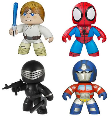 Hasbro's Mighty Muggs Heroes - Star Wars' Luke Skywalker, Marvel's Spider-Man, G.I. Joe's Sanke Eyes & Transformers' Optimus Prime