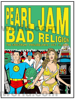 Pearl Jam - October 31, 2009 - The Spectrum - Philadelphia, PA Concert Poster by Tom Tomorrow