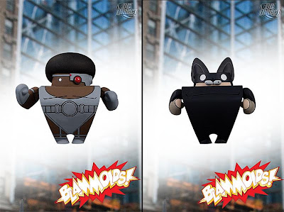 Blammoids! Series 3 by DC Direct - Cyborg and Wildcat PVC Vinyl Mini Figures
