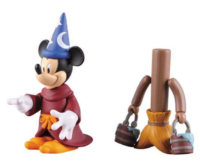 Medicom x Disney Fantasia Kubrick 2 Pack - The Sorcerer's Apprentice Mickey Mouse and Walking Broom Stick 100% Kubrick Vinyl Figures