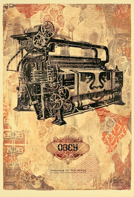 Obey Giant Freedom of the Press Screen Print by Shephard Fairey