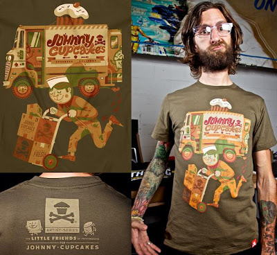Johnny Cupcakes Artist Series 3 - Delivery T-Shirt by The Little Friends Of Printmaking