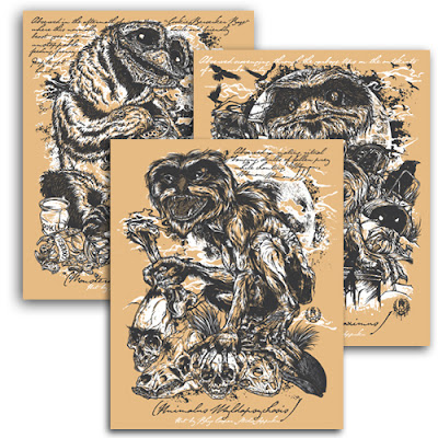 Of Fur and Felt Muppet Screen Print Set by Rhys Cooper - Original Field-Sketched Drawings Mini Print Set