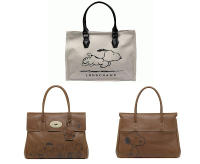 Peanuts 60th Anniversary Clothing & Accessory Collection - Longchamp x Peanuts Snoopy Bag & Mulberry x Peanuts Handbag