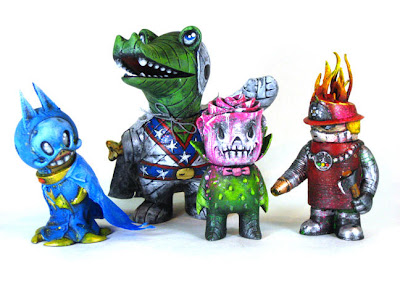 """1-Offs"" Custom Vinyl Toys by Leecifer - Batman Big Sal, Evel Kenevil Mummy Gator, Skull Rose Vampire, Fire Robo"