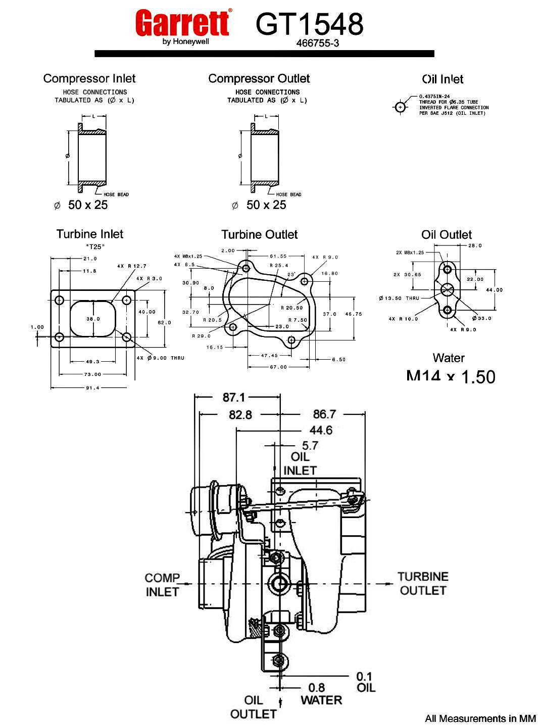 Garrett Gt15 Gt1548 200 Hp Turbocharger Specs Saab 93 1 9 Tid Wiring Diagram Turbo Measurements In Mm Flanges Diameter Honeywell 1071x1439