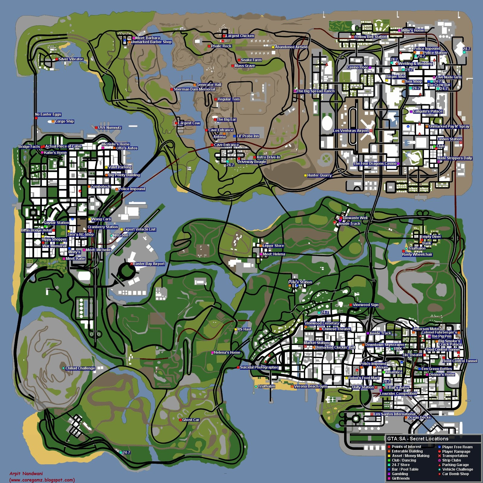 Game Zone: GTA-SA Secrets Map