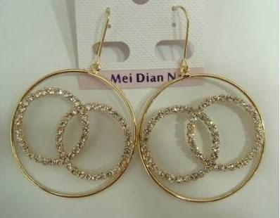 Cc Logo Gold Pave Diamond Earrings
