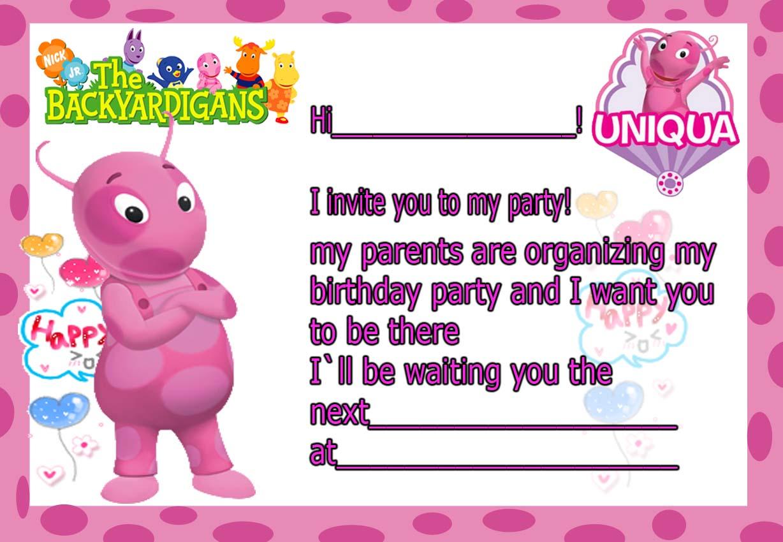 birthday invitation card backyardigans uniqua  happy