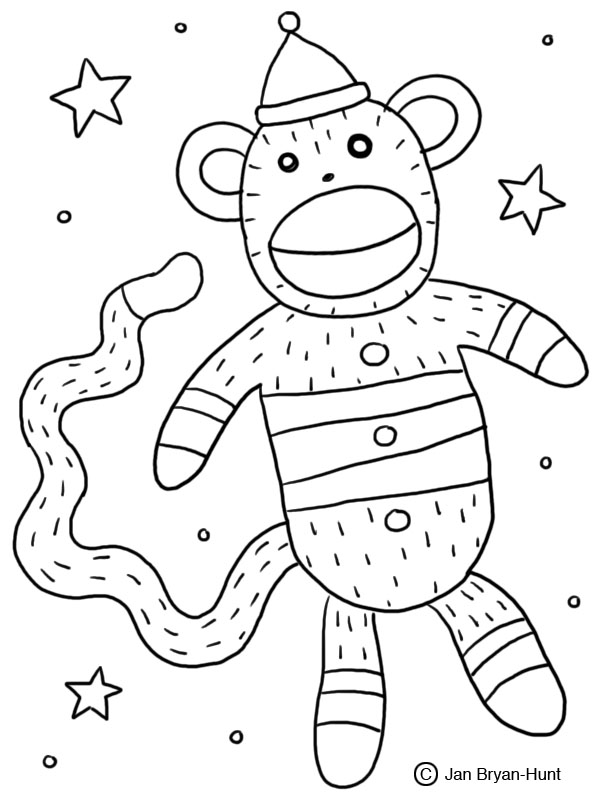 christmas monkey coloring pages | Sock Monkey Insanity: My Sock Monkey Coloring Book