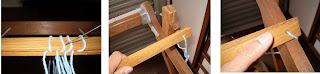 sequência de fotos mostrando o procedimento de prender a cruzada entre as réguas e , em seguida, prender as réguas no tear para posterior montagem do urdume