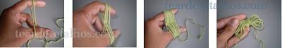 Sequência de fotos mostrando como fazer uma borboletinha de fio de lã ou linha enrolando-a nos dedos da mão para depois usá-la na confecção da trama
