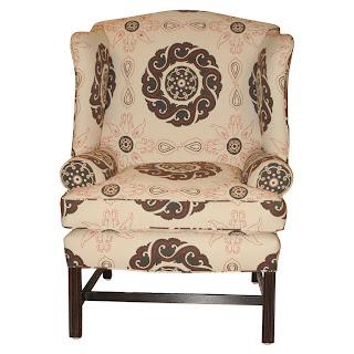 chair upholstered in suzani fabric via belle vivir blog